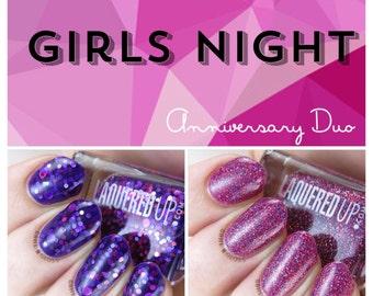 NEW!! Anniversary Duo// Pink and Purple Glitter Nail Polish Set //Cruelty Free