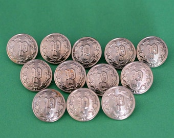 Silver Police Department Buttons - Collection Set of 12 - P Monogram - Waterbury Button Company