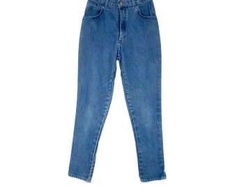 """Vintage 80s Jeans - High Waist Jeans - Tapered Legs - Blue Denim Jeans - 26"""" Waist - 80s High Waist Jeans - Goldiggers - Small - Acid Wash"""