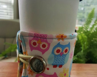 Reusable Coffee or Tea Wrap Around Sleeve: Owl Themed Fabric with Vintage Button