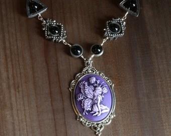 Neo Victorian Jewellery - Necklace - Purple Woodland fairy cameo