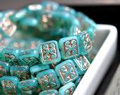 Bonjour Paris - Czech Glass Beads, Green Aqua Decorative Rectangles 12x11mm - Pc 6
