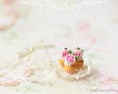 Dollhouse Miniature Food - Buttermilk Pink Rose Cupcakes
