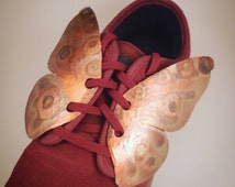 Hammered Copper Butterfly Shoe Bling, Shoe Accessories, Hand Forged Copper Shoe Accent