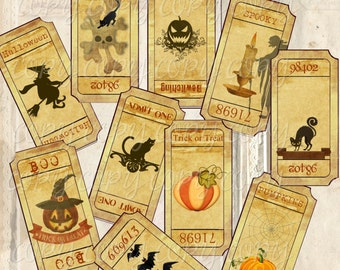 Instant Download - Halloween Ticket Stubs -  Transfer Patterns - High quality Collage Sheet - Printable Download - Gift Tags - Scrapbook