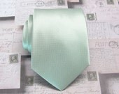 Mint Green Ties. Mens Ties. Pastel Dusty Mint Green Checkered Pattern Silk Necktie With Matching Pocket Square Option