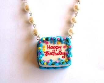 Birthday Cake Necklace, Happy Birthday Necklace, Ice Cream Cake Pendant, Miniature food Jewelry