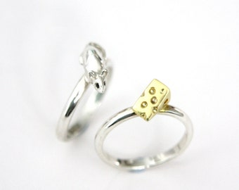 Mouse and Cheese Ring Set, Sterling Silver, Black Diamonds, 9ct Yellow Gold, Handmade in Brighton.
