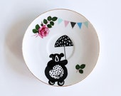 Illustrated small vintage cake plate Circus bear on a bike and bunting