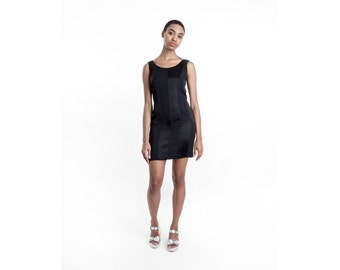 BLACK bodycon mini dress PANELS vintage satin vintage Small / Xs