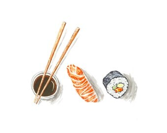 Sushi Sketchbook Series Marker Illustration