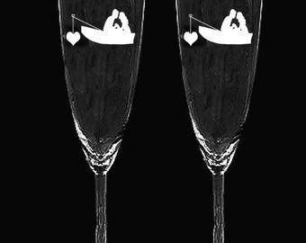 couple Boaters boating fishing rowboat boat fisherman heart wedding toasting glasses flutes