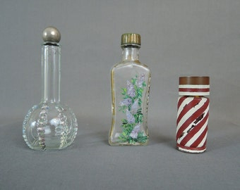 3 Vintage Perfume Bottles, Balalaika by Lucien Lelong, 1930s 1940s, painted