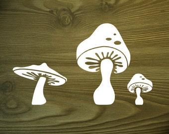 fall mushroom vinyl wall decal set