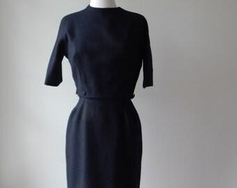 Vintage late 1950s Lanz Black Wool Dress