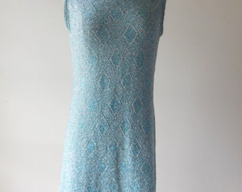 Sale Vintage 60s  turquoise blue and silver Lurex Dress// Cabot