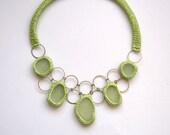 Bib necklace 5 sea glass statement big bold necklace Valentine gift for her UK beach Wedding collar apple green crochet seaglass OOAK