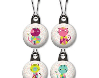 Crazy quilt cat zipper pull.  Geometric cat charm.  Crazy quilt cat charm.