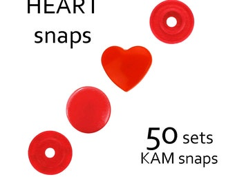12mm KAM snaps . snap fastener . KAM snap fastener . heart KAM snaps . plastic snaps . B1 red snaps T5 size . diaper snaps T20 size #700130