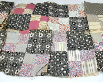 Antique set of 50 quilt squares - Victorian Fabrics - 4 Square Pattern