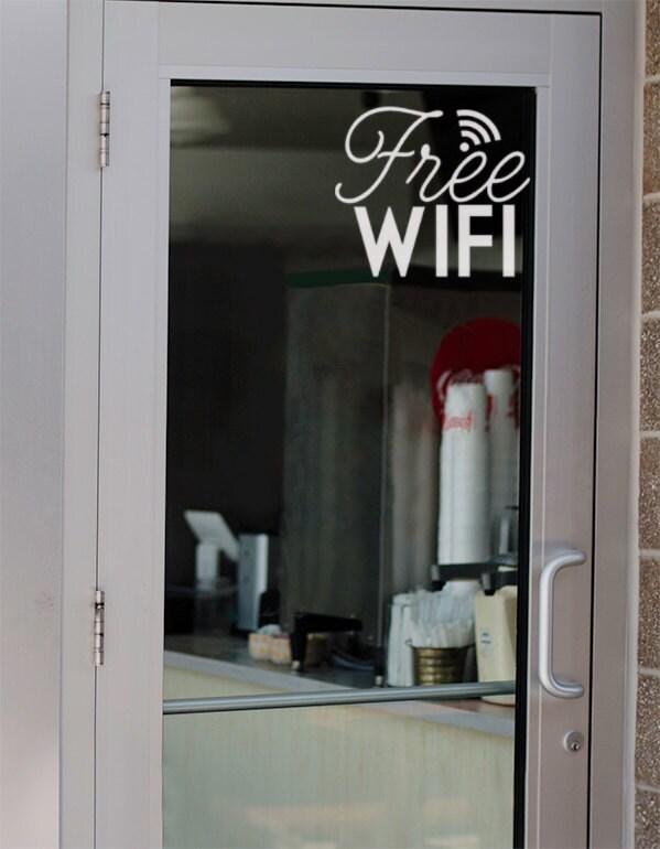 Office Door Decal Free Wifi Sticker Business Window Decals - Window stickers for business