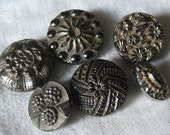 Lot of 6 ANTIQUE Silver Luster Black Glass BUTTONS