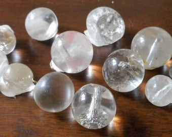 Lot of 12 VINTAGE Round Ball Chunky Clear Glass BUTTONS  C1