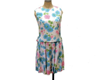 SALE! Springtime in Savoie, 60s Dress S, 1960s Dress, Blue Pink FLORAL Dress, Top and Skirt