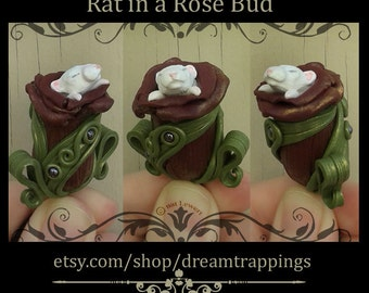 Rat Necklace Pendant Rose Bud Pendant Polymer Clay Jewelry Burgundy Red Flower Nature Miniature Mouse Gothic Fashion Animal Pet Albino Gift