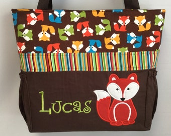 Urban Zoologie ... Brown  FOXES .. DIAPER Bag .. Applique  ... Bottle Pockets ... Personalized Free