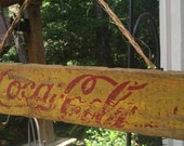 SALE Vintage  Yellow Coca Cola Sign made from Cola Crate - Wonderful Chipped Paint & Frayed Twine