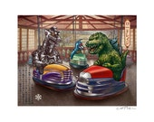 Road Rage  11 x 14 Signed Print -Godzilla, Mechagodzilla and Gigan ride in bumper cars