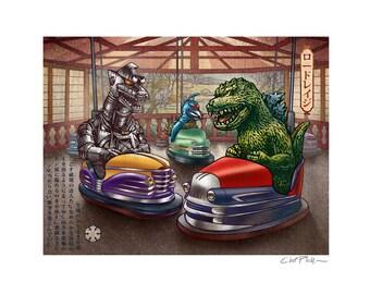 Road Rage  11 x 14 Signed Print -Godzilla, Mechagodzilla and Gigan ride in bumper cars