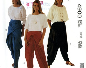 McCall's 4900 Easy Harem Parachute MC Hammer Dance Pants and Top Size 10 12 Uncut Vintage Sewing Pattern 1990