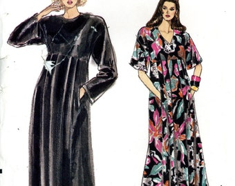 Vogue 7370 Easy 1980s Caftan Dress Evening Maxi Loose Fitting Size XS S M 6 8 10 12 14 Uncut Vintage Sewing Pattern 1988