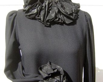 Gothic Cocktail Dress - Mr. Mort Channels Wednesday Addams - Morton Myles Designer Black Ruffles - Deadly Chic Vintage 80s - M