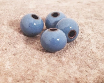 Enameled blue beads Jewelry making beads Small round navy blue beads Artisan Beads Plus