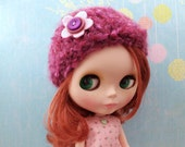 fuzzy flower hat for pullip or blythe