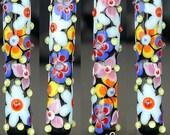 Handmade lampwork bead focal      Flower Poser    tube-shaped     SRA     artisan glass    Silke Buechler