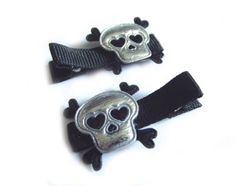 Skull Hair Clips Skull and Crossbones Halloween Hair Clips Rock N Roll Hair Clips Punk Hair Clips Black Hair Clips Silver Hair Clips Baby