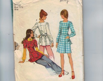 1970s Vintage Sewing Pattern Simplicity 5405 Misses Back Button Dress or Smock Size 10 Bust 32 1/2 70s 1972