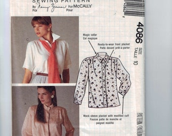 1980s Vintage Misses Sewing Pattern McCalls 4086 Misses Nancy Zieman Button Down Shirt Blouse Size 10 Bust 32 1/2 UNCUT  99