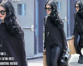 Kat Von D wears BABOOSHKA Banded Arch Caftan Midi Maxi Dress - Black on Black - Long Sleeve Minimal Oversized Tunic Katvond look #kvdlook