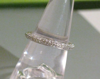 Knife Edge Pave' Diamond Full Eternity Ring Band 14K or 18K Gold Any Size & Color Handmade