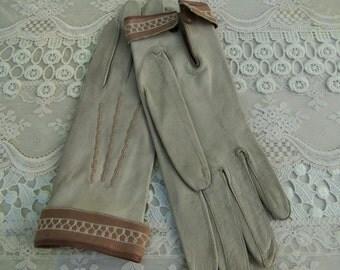 Vintage Beige and Brown Ladies Leather Gloves