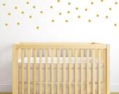 Gold Polka Dot Decals - Confetti Polka Dot Gold Stickers - Dot Stickers - Polka Dot Wall Decal - Vinyl Gold Circles