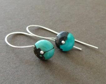 Petite Turquoise Earrings Sterling Gemstone Birthstone Earrings Simple Modern Earrings Understated Earrings