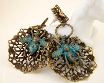 Bee patina filigree earrings, Bohemain antiqued brass earrings, unique dangle earrings, handmade artisan jewelry by j.wray