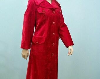Vintage 60s 70s Maxi Coat .  Ruby Red Crushed Velvet Carpet  Coat . Mod Full Length Red Coat .  S M