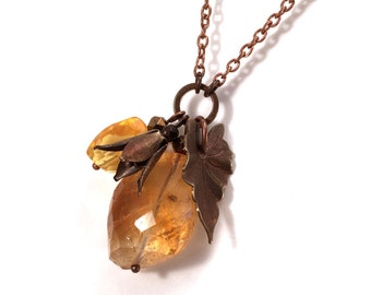 citrine nugget necklace with vintage leaf and flower